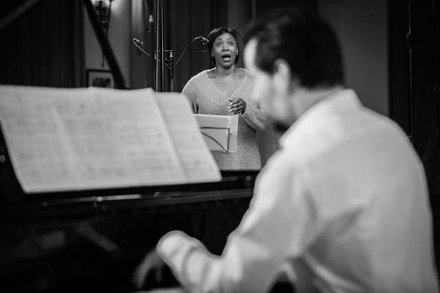 Elizabeth Llewellyn and Simon Lepper during the recording session for 'Heart & Hereafter'