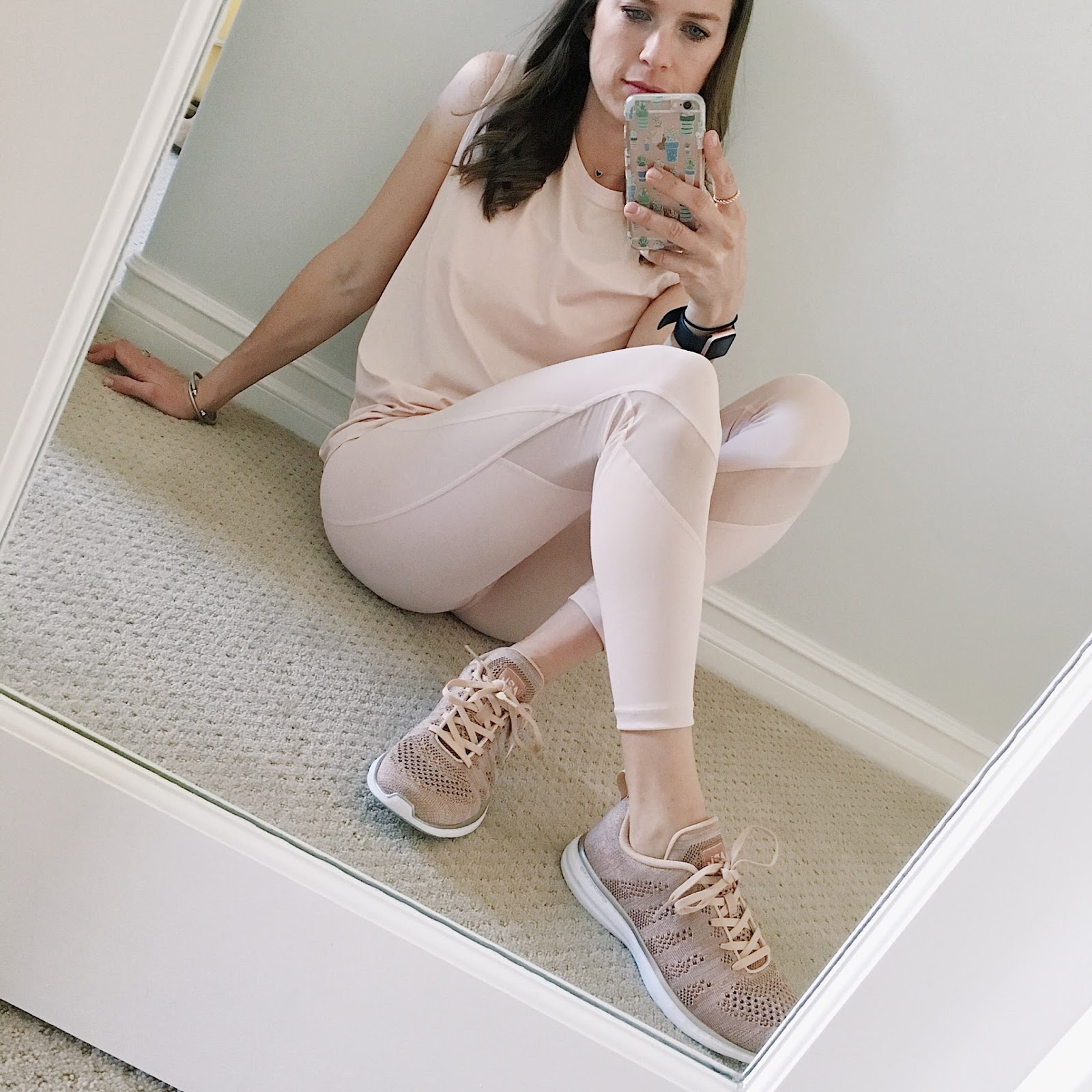 blush workout outfit