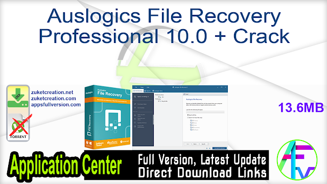 Auslogics File Recovery Professional 10.0 + Crack