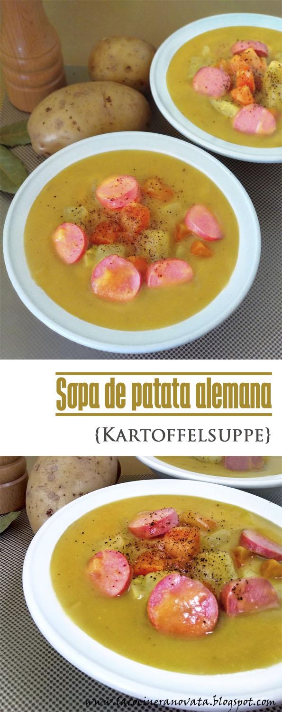 SOPA DE PATATA ALEMANA Kartoffelsuppe cocina receta alemana pobres crema verduras salchichas comfortfood