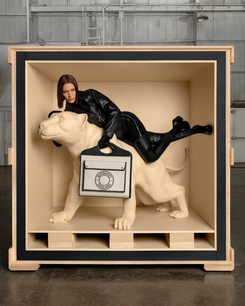 Bella Hadid stars in Burberry Pocket bag campaign.