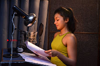 Actress Catherine Tresa Pos during Self Dubbing for Gautham Nanda Movie  0025.JPG