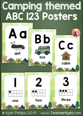 ABC 123 Camping Posters