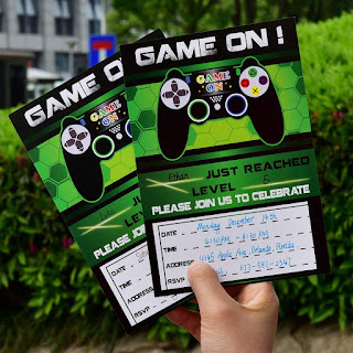 Gamer's Theme Party Invitations.