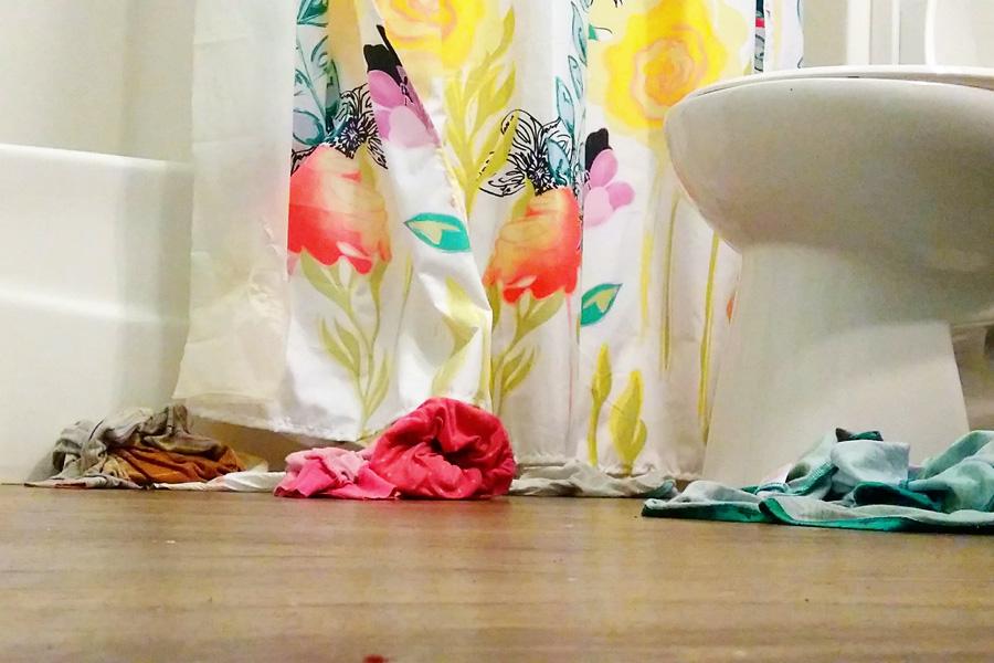 dirty bathroom floor