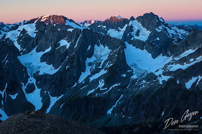 Sunrise on North Cascades, viewed from Sahale High Camp in North Cascades National Park, Washington, USA.