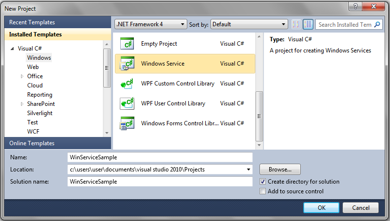 how to create Windows Service in c# or windows service