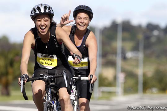 L-R: Nadia Te Huia, Jacinta Hamer, on Prebensen Drive, Napier - Iron Maori Quarter IronMan, 1km swim-45km cycle-10.5km run, around Pandora, Napier. photograph