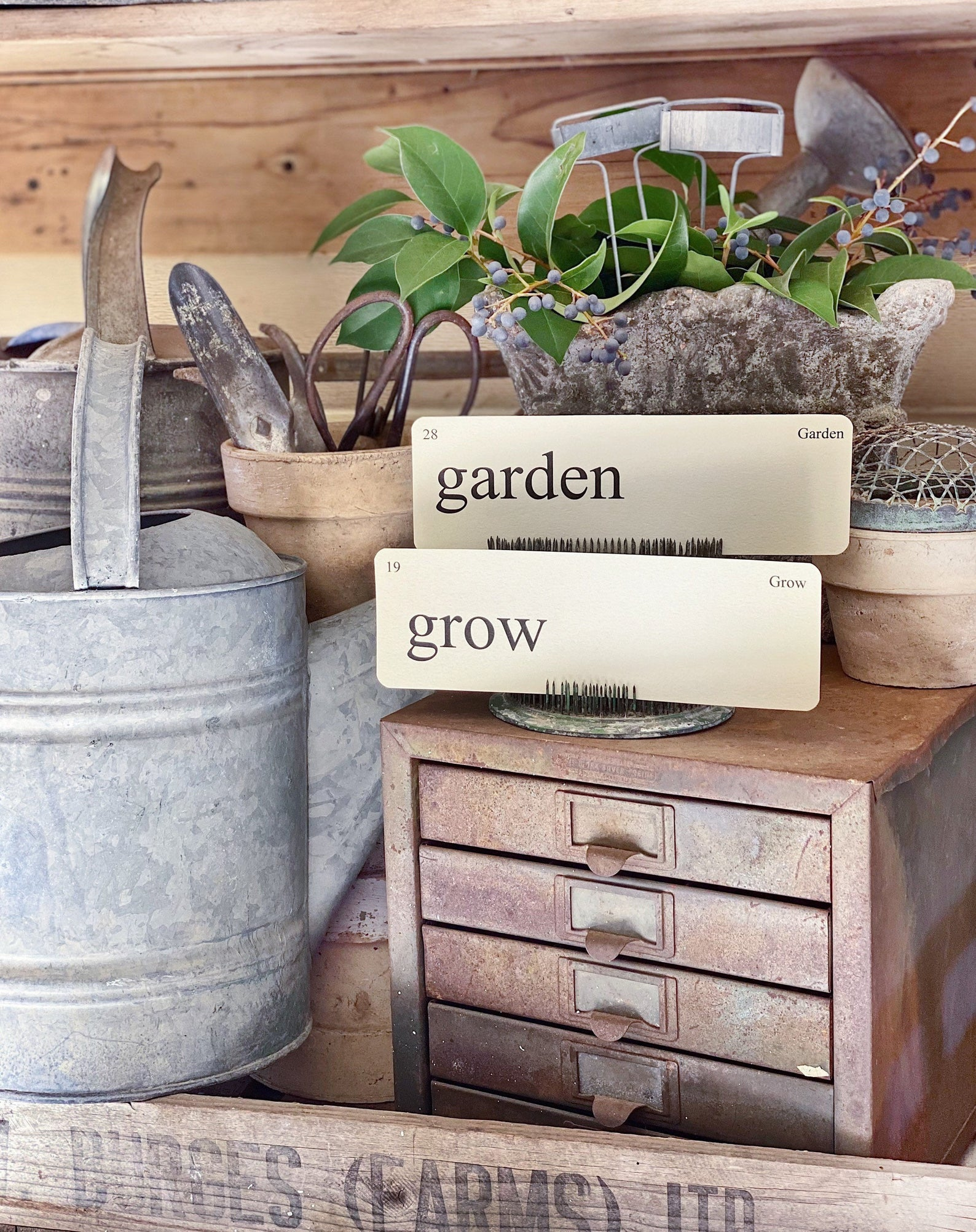 Vintage flashcards look perfect tucked into a vignette
