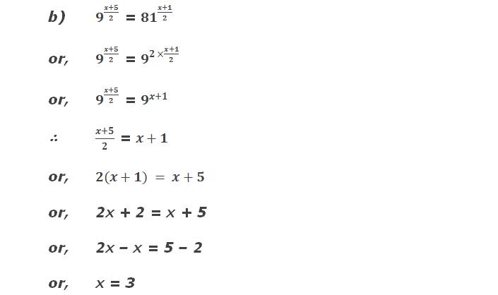 b) 9^((x+5)/2) = 〖81〗^((x+1)/2)