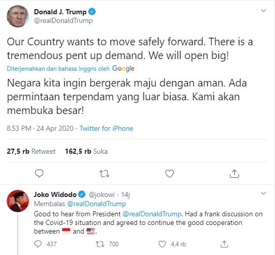 Admin Twitter @jokowi Diaggap Salah Reply Twit Presiden Donald Trump