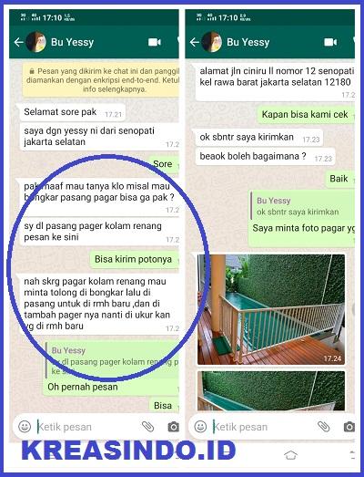 Repeat Order Pagar Kolam Renang Besi pesenan Bu Yesy di Cilandak Tengah Jakarta