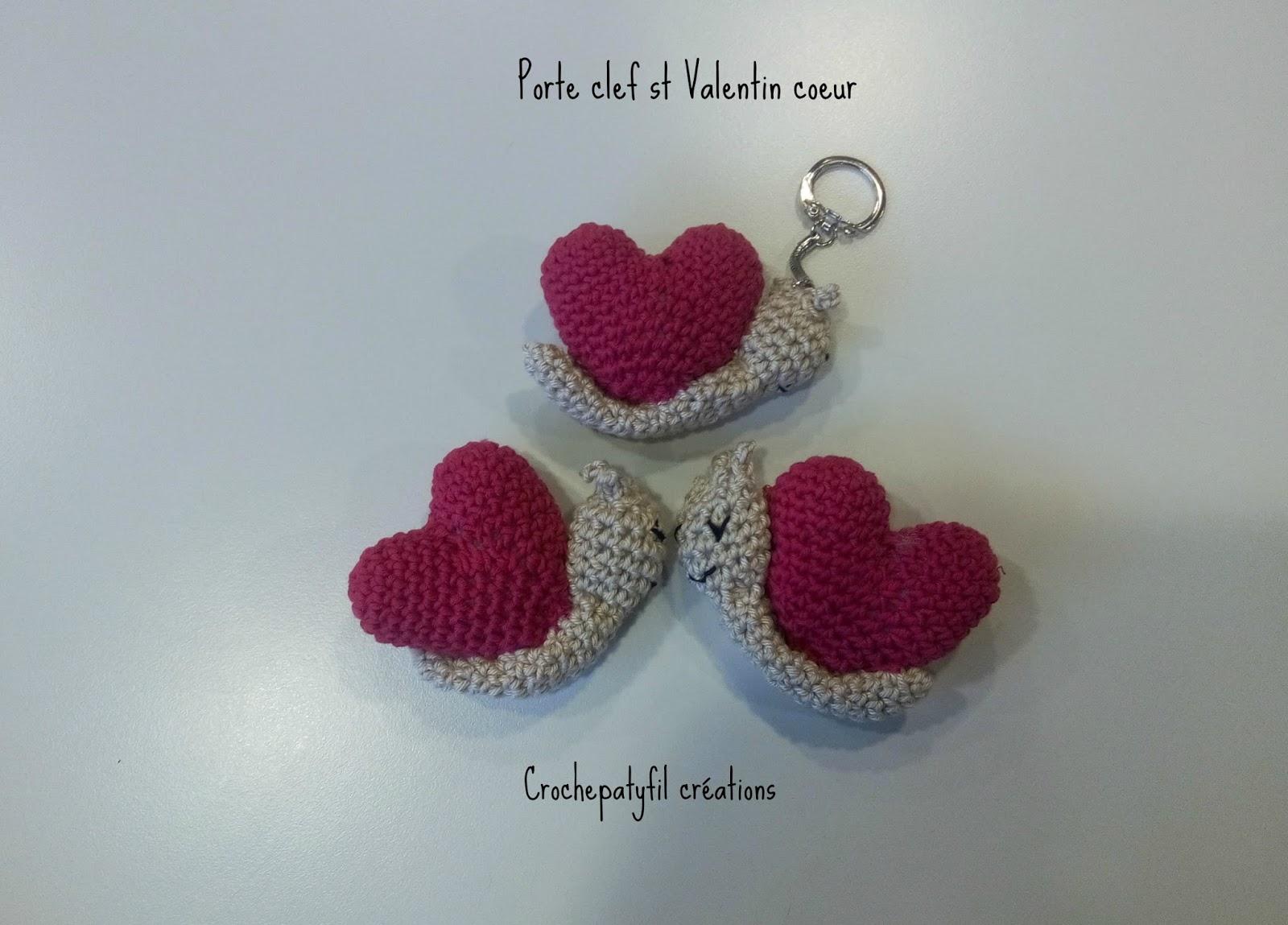 Crochepatyfil cr ations porte clef coeur escargots for Qui portent des crochets