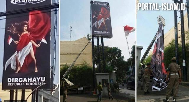 Setelah Diprotes Akhirnya Baliho Tak Senonoh Yang Lecehkan Bendera RI Diturunkan, Terima Kasih Netizen!