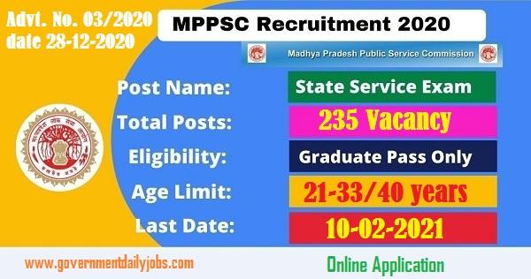 MPPSC State Service Exam Notification 2021