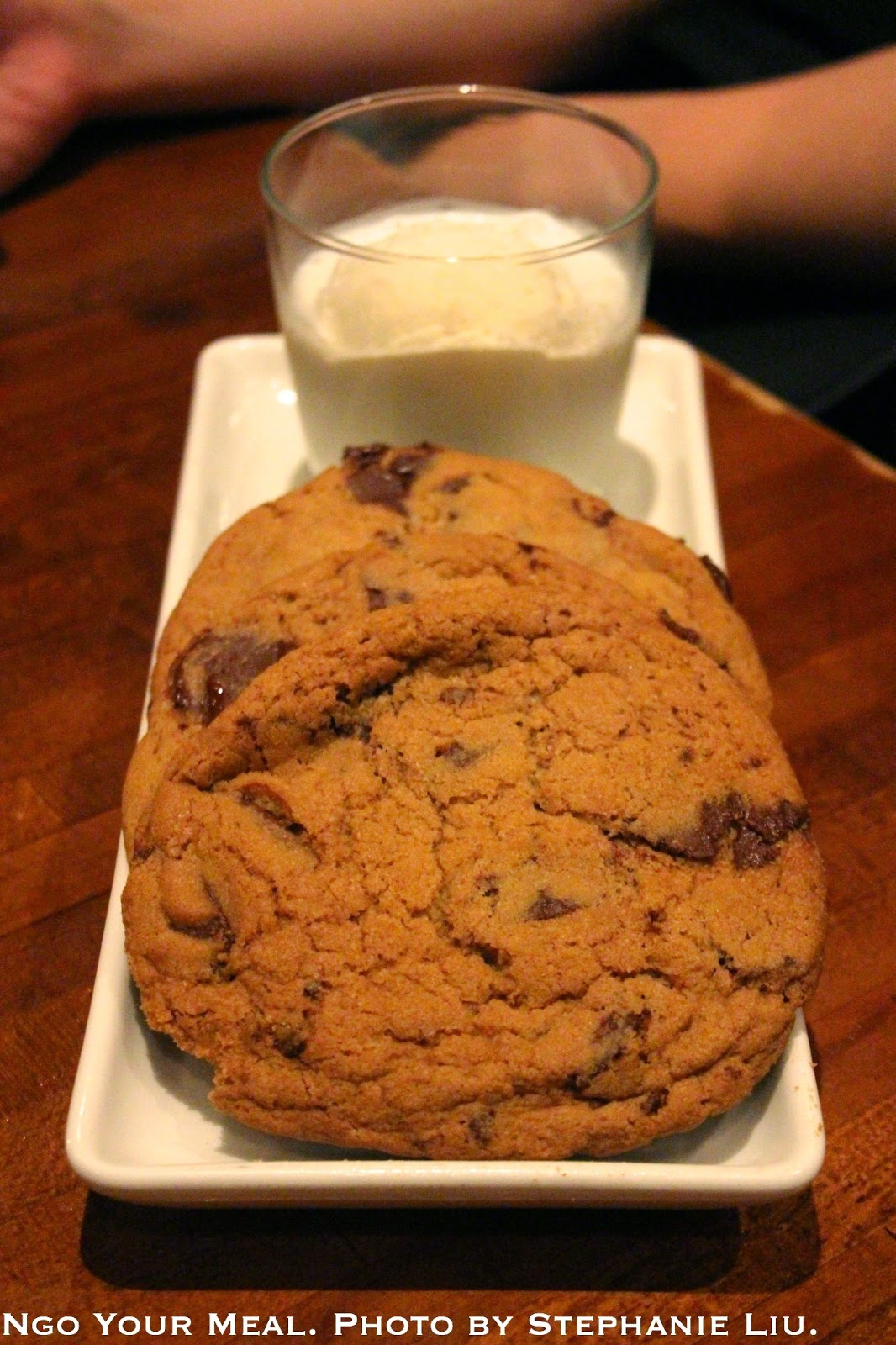 Milk & Cookies: warm chocolate chip cookies, vanilla ice cream, and ice cold milk at Jane