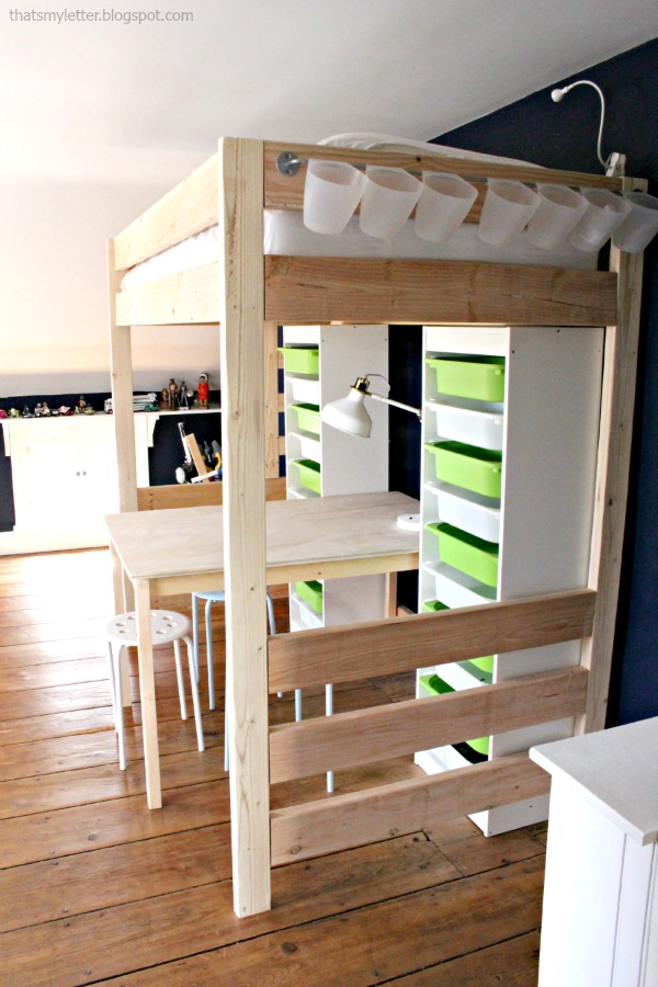 diy loft bed with work space