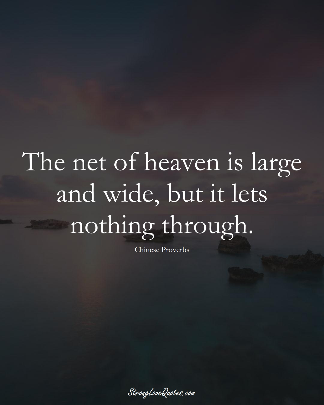 The net of heaven is large and wide, but it lets nothing through. (Chinese Sayings);  #AsianSayings