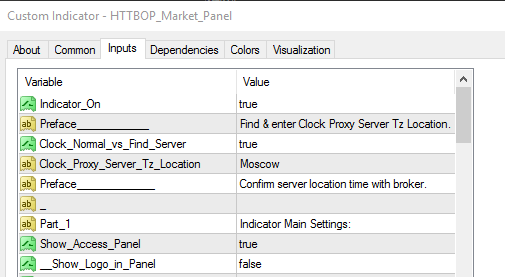 Market Panel settings for Daylight savings