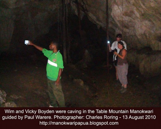 Belgian tourists were in a cave in Manokwari accompanied by local guide Paul Warere and Charles Roring
