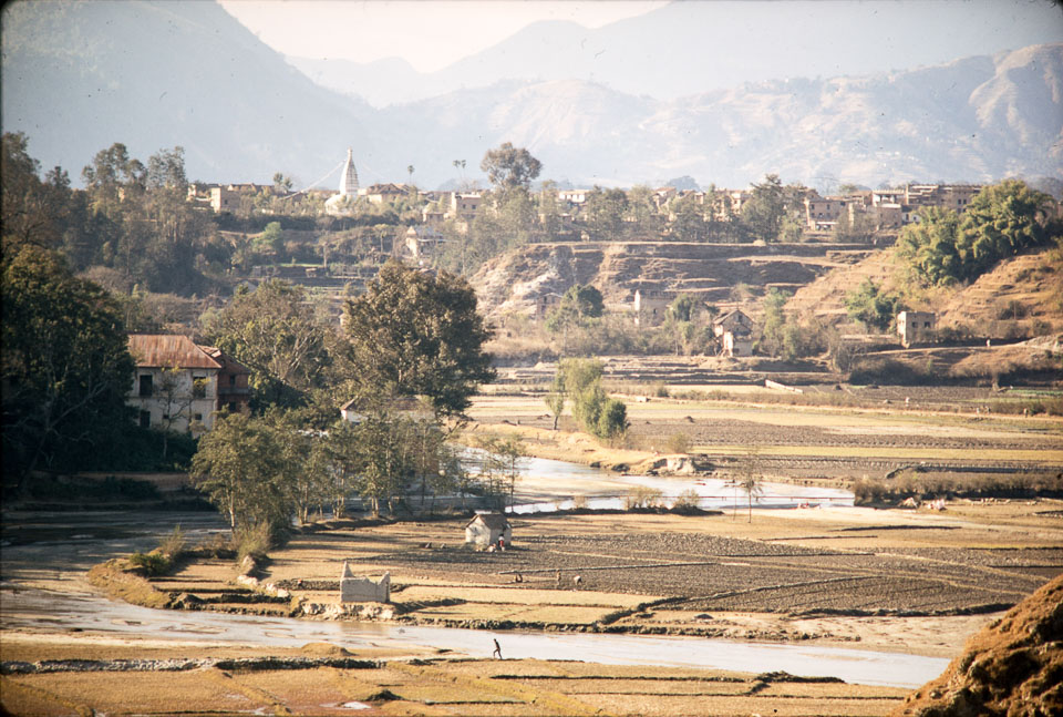 Bagmati River looking northwest towards Bouddhanath stupa in background