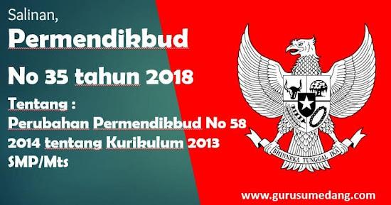 Permendikbud Nomor  35 Tahun 2018   Tentang Perubahan atas Permendikbud Nomor 58 tahun 2014  tentang Kurikulum 2013 Sekolah Menengah Pertama / Madrasah Tsanawiyah dilatarbelakangi oleh :