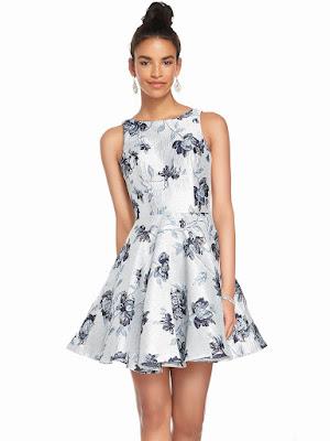 Bateau neckline Alyce Party Short Dress Silver-Navy Color