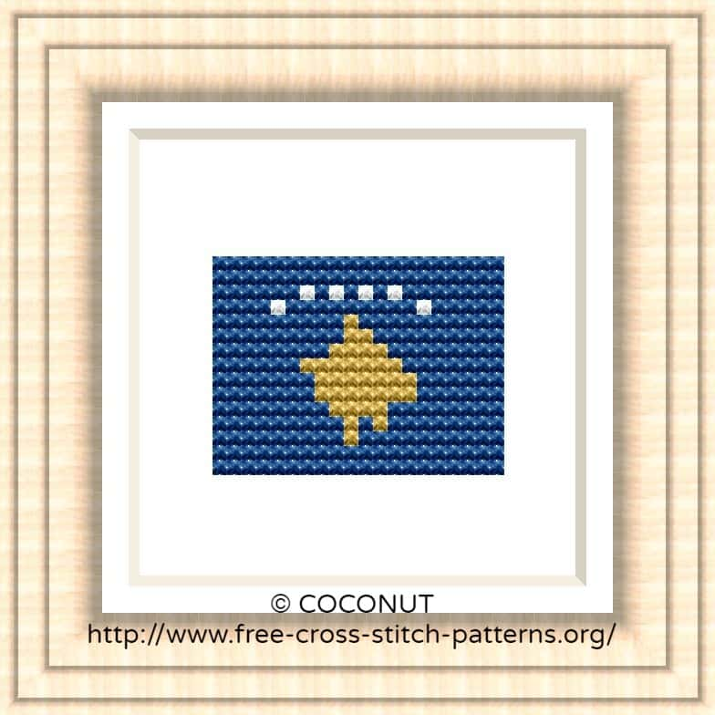 NATIONAL FLAG OF KOSOVO CROSS STITCH CHART