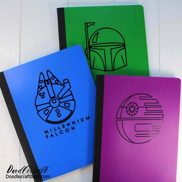 Now these notebooks are the best in a galaxy far, far away! These would make a great handmade gift or Summer journals for the kids.   I love the plastic notebook covers too! They are perfect and don't warp if they get a little moisture on them.