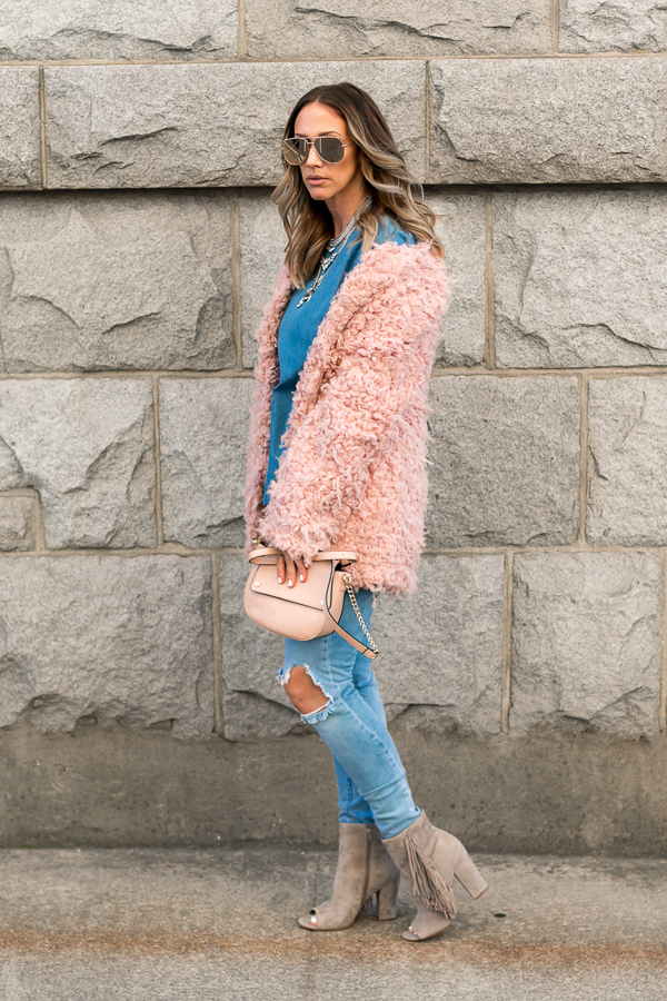dusty pink faux fur jacket