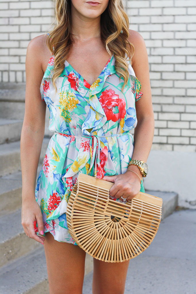 This sweet floral romper has just the right amount of ruffles and is perfect for a summer date night!