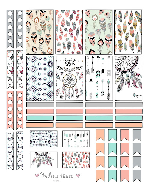 Free Boho Chic Planner Stickers for Happy Planner