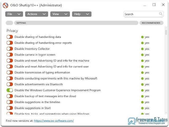 O&O ShutUp10++ : un logiciel portable pour protéger votre vie privée et votre confidentialité sur Windows 11 (et Windows 10)