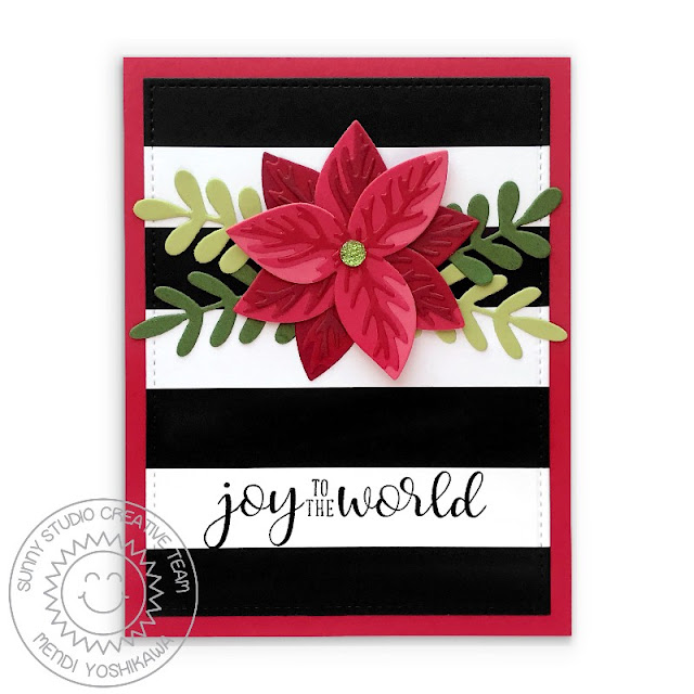 Sunny Studio Joy To The World Classy Black & White Striped Holiday Christmas Card (using Festive Greetings Stamps, Pristine Poinsettia, Winter Greenery & Stitched Rectangle Dies)