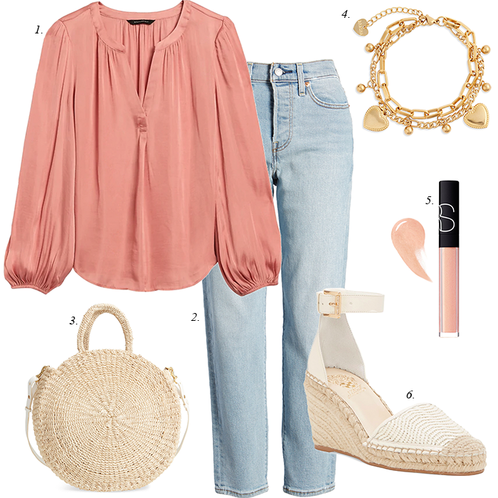coral blouse, wedge espadrille sandals, spring women casual outfit, spring trends mom jeans