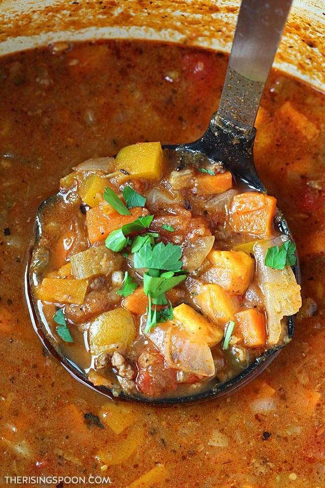 Homemade Vegetable Beef Soup with Hamburger & Potatoes