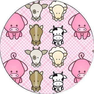 Toppers o Etiquetas de La Granja Bebés en Rosa para imprimir gratis.
