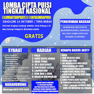 LOMBA CIPTA PUISI NASIONAL @LOMBATERUPDATE X @INFOLOMBAPUISI DEADLINE 14 OKTOBER 2021