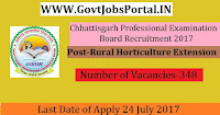 Chhattisgarh Professional Examination Board Recruitment 2017– 348 Rural Horticulture Extension Officer