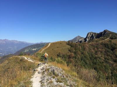 On the spine of the hill near Pizzo di Spino, view north of the Bergamasque Prealps.