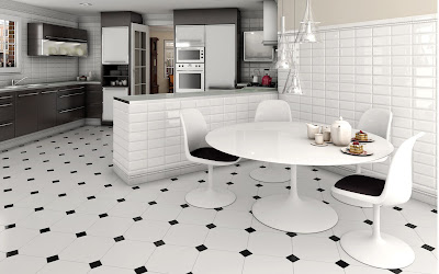 Modern White Floor Tiles Kitchen Ideas