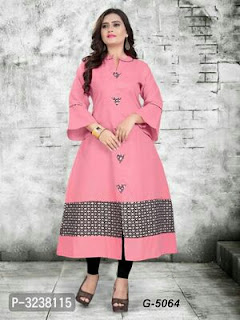 Magix Cotton Digital Printed A-Line Kurti With Bell Sleeve