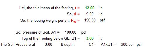 Footing Design in Excel Sheet Step-2
