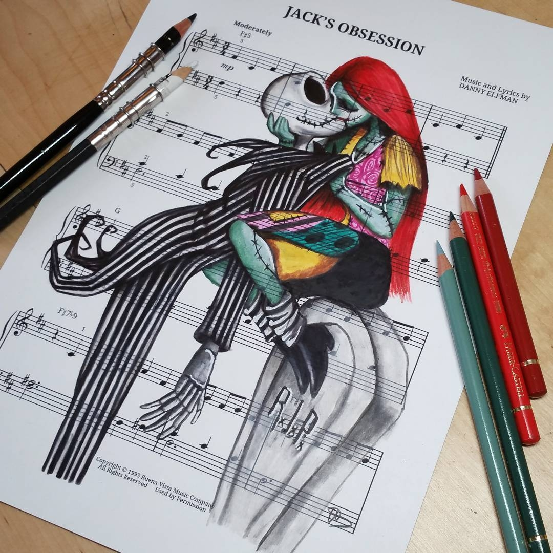 10-jack-Skellington-and-Sally-Ursula-Doughty-Animated-Movies-Drawn-on-their-Music-Scores-www-designstack-co