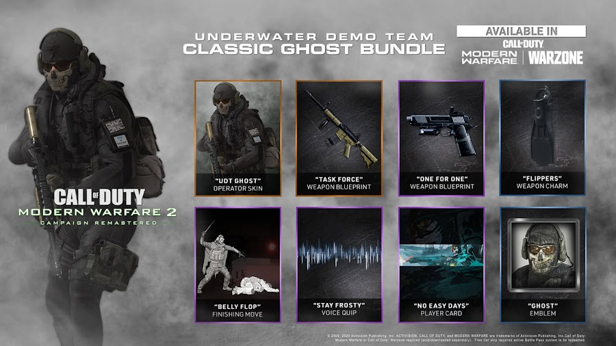 call of duty modern warfare 2 campaign remastered ps4 underwater demo team classic ghost bundle skins playstation network infinity ward activision Beenox