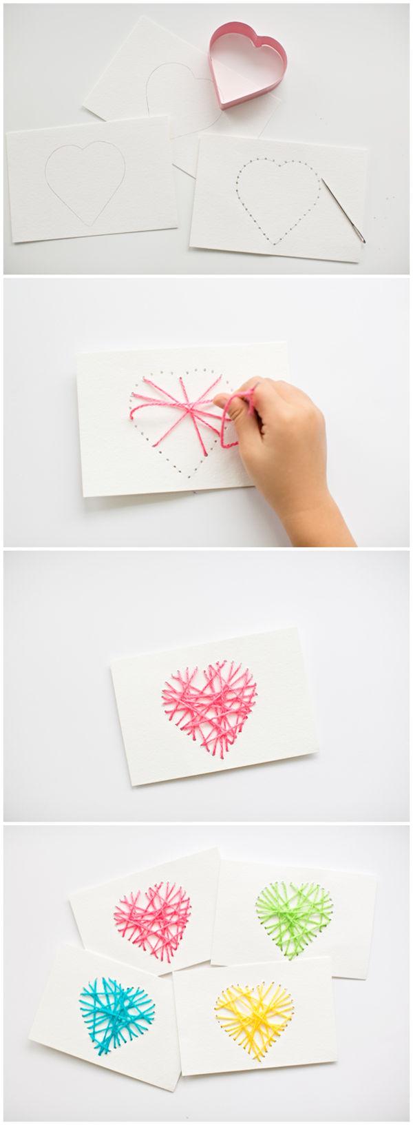Make String Heart Yarn Cards