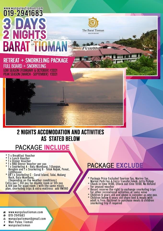 Pakej Percutian 3 Hari 2 Malam Ke Pulau Tioman 2021 - The Barat Tioman Resort ~ Pulau Tioman