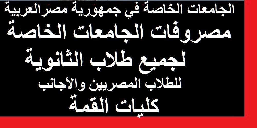 الجامعات الخاصة في جمهورية مصرالعربية