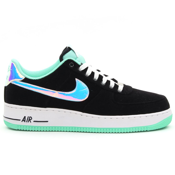 new style 323e2 7c18d Green glow makes its way to Nike s sportswear division with this all new  Air Force 1 Low also rocking the unique mint-like hue. Black canvas builds  this ...