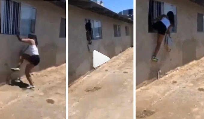 Side chick escapes through window when lover's wife return home (Video)